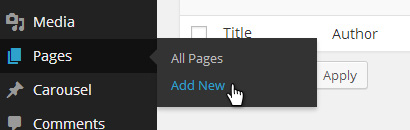 Pages - Add New Page Menu