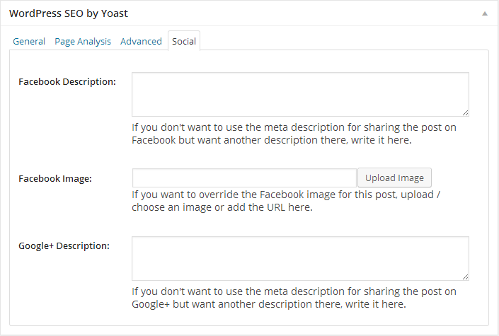 SEO - Yoast Plugin - Social Fields